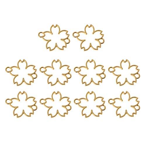 Boji Marco colgante bisel de 10 piezas de resina de flores de cerezo, marco de metal, conector de pulsera, fabricación de joyas de resina, artesanías de resina, para hacer joyas