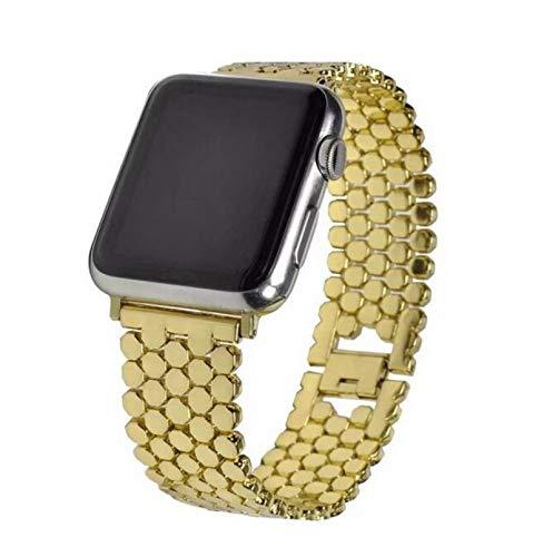 Correa de muñeca para Apple Watch Band serie se 6 5 4 3 2 1 Acero inoxidable Metal para iWatch 38 mm 42 mm 40 mm 44 mm Correas de reloj-Dorado, 42 mm serie 1 2 3