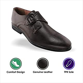Tapps Men's Genuine Leather Brown Formal Shoes for Men
