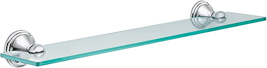 Moen DN8490CH Preston Collection 19.5-Inch Wide x 4-Inch Deep Decorative Glass Bathroom Vanity Shelf, Chrome