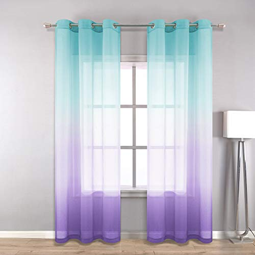Bedroom Curtains 96 Inches Long for Girls Room Decor Set of 2 Pack Grommet Ombre Thin Clear See Through Curtains for Windows 42x96 Inch Length