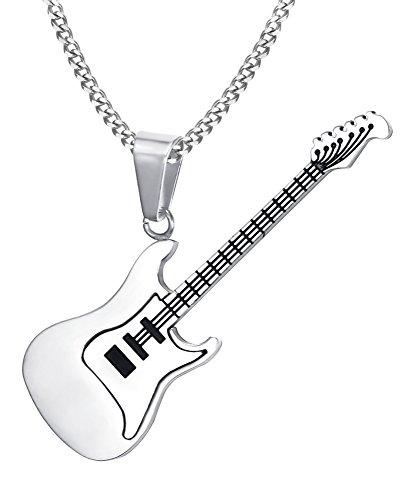 Joielavie Schmuck Anhänger Halskette Gitarre Musik Musikalische Edelstahl Charm Bijouterie Geschenk Für Männer Frauen - Silber