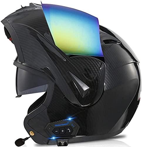 XLYYHZ Casco Bluetooth para Motocicleta, Casco Completo Modular con Visera Solar Doble Tipo abatible, Casco Certificado por Dot, Respuesta automática Manos Libres 18, M = 57~58 cm