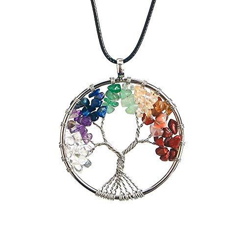BellFan Lebensbaum Halskette, 7 Chakra Halskette mit Amethyst Stein Anhänger, Healing Chakra Stein...
