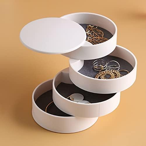 Aiglen Rotación de la caja de almacenamiento de joyas de cuatro capas Accesorios para el cabello Horquilla Mano Joyería Caja de almacenamiento (Color : White, Size : Mcode)