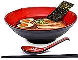 GCE 2 tazones para Sopa de Fideos Ramen con tazones de melamina Dura con cucharas y Palillos Variados para Fideos Udon asiáticos con Fideos de Trigo sarraceno