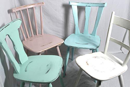 4x Shabby Stuhl alter Holzstuhl/Stuhl/Bauernstuhl/Küchenstuhl bunt 60er Jahre Landhaus Vintage Shabby Chic Möbel 4er Set