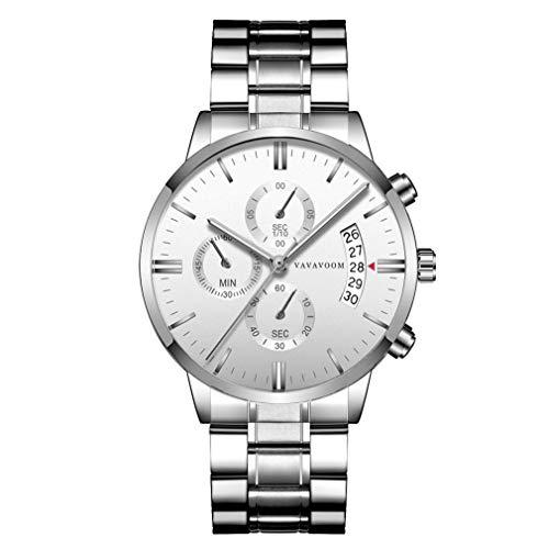 Nsdsb Va-G001 Trendy Business Men Acero Inoxidable Relojes para Hombre Reloj De Pulsera De Cuarzo Blanco Y Plateado