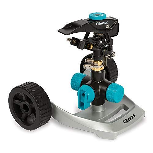 of gilmour sprinklers Gilmour 831673-1001 Circular Sprinkler w/Wheel Base-Adjustable (5,800 sq. ft.), Heavy Duty, Black/Aqua