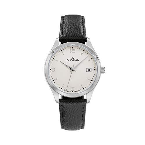 DUGENA Reloj de pulsera para mujer Tresor Woman, cuarzo, esfera blanca, caja de acero inoxidable, cristal de zafiro, correa de piel, hebilla, 10 bar