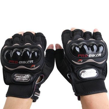 Vocado Black Mcs04 Motorcycle Racing Half Finger Gloves Bike Safety for Pro-biker, Xxl