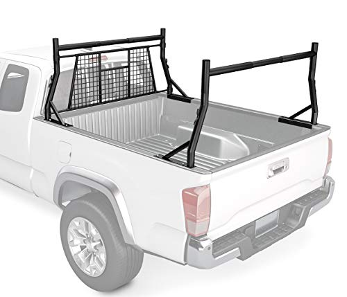 AA-Racks Model X35-W 800 LB Capactiy Extendable Pick-up Truck Rack with Protective Screen Set (Black)