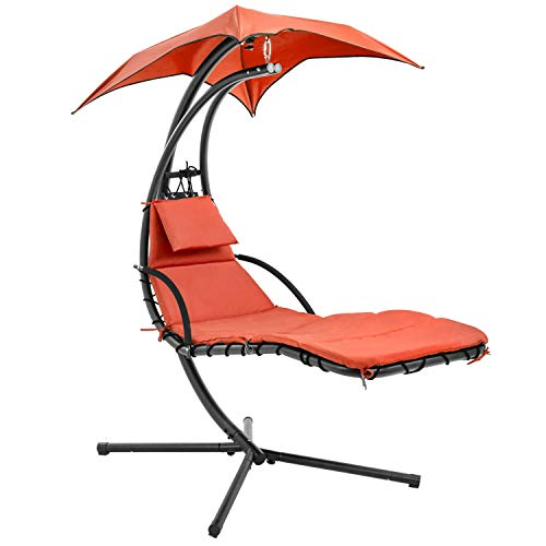 Hanging Lounge Chair Heavy Duty Hammock Chair with C Stand Hanging Chair Patio Chair w/Built-in Pillow and Removable Canopy Hammock Arc Stand(Orange)