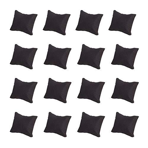 PandaHall Elite 20 piezas de terciopelo almohada joyería reloj exhibición con esponja, negro rectángulo, 8,8 x 7,6 x 4,3 cm
