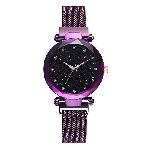 Gloaming Damen-beiläufiger Quarz-Diamant mit Sternenhimmel-Dekor-Platten-Uhr, Studenten-Normallack-Maschen-Gurt-analoge Armbanduhr