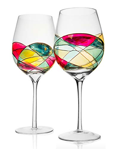 The Wine Savant Large Hand Painted Wine Glasses, Unique Hand Painted Glasses, Handblown & Handmade - Set of 2 - Great Idea for Her, Him, Birthday, Mom, Housewarming - Extra Large Goblets 28 Ounces (2)