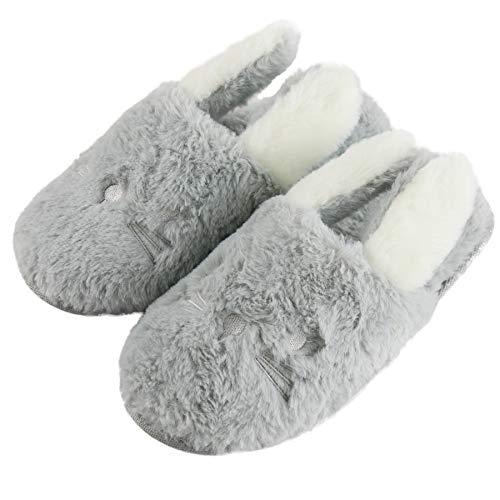 Komyufa Gray Bunny Women Slippers Cozy Fleece Memory Foam Rabbit Animal Plush Indoor Outdoor House Shoes (M/ 6.5-8.5 B(M) US, Gray Bunny)