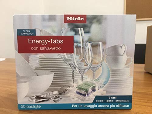 Miele* Detersivo per lavastoviglie Energy Tabs con salva-vetro (3 fasi, pulizia-igiene-brillantezza) (50 pastiglie = 1000 g)