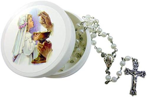 Girl s First Communion Rosary White Rose Shaped Bead Catholic Gift Set with Case product image