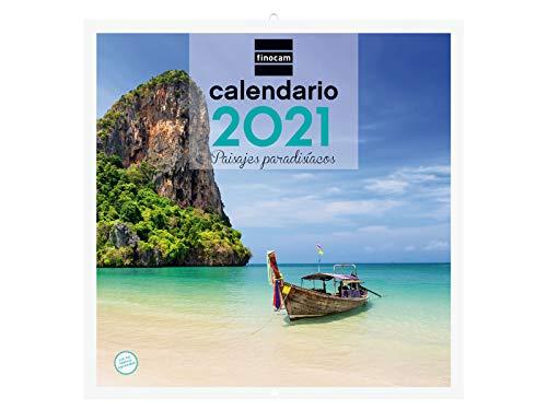Finocam - Calendario de pared 2021 Escribir Imágenes 30x30 Paisajes paradisíacos Español
