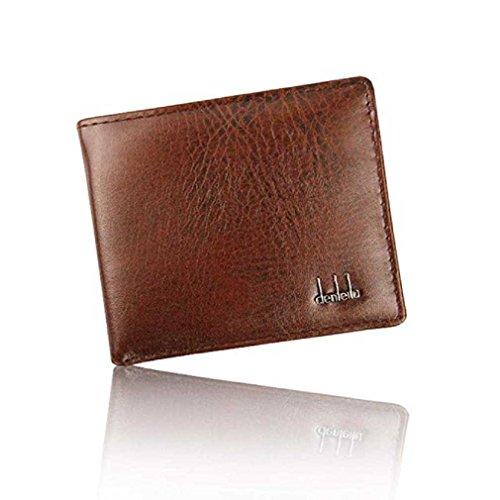 Portafogli per Maschi,Fittingran Borsa da Uomo in Pelle di Lusso Bifold Business Elegante con Slot per Windows (Marrone)