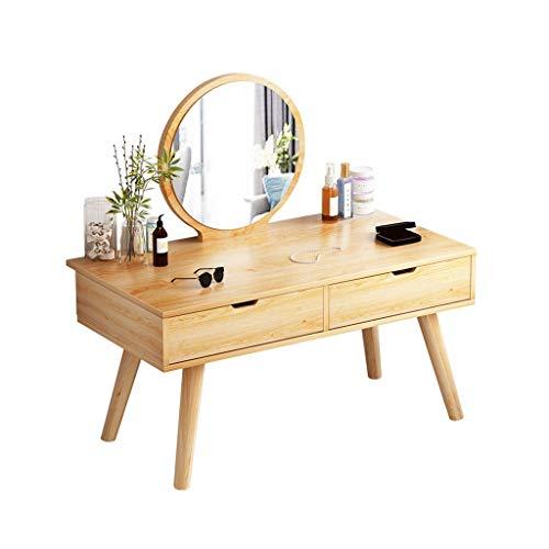 Dorm Room frisörkammode, trästil Dressing bord med rund sminkspegel 2 förvaringsfack flicka frisör kommode (färg: #1, storlek: 80 x 40 x 43 cm)