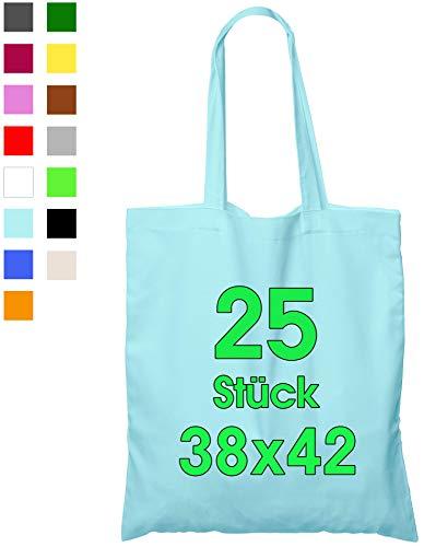 25 stuks katoenen tas 38 x 42 cm, Lichtblauw, onbedrukt, t lang handvat stoffen tas draagtas schoudertas katoenen tas jute tas ÖKO-TEX® getest, tas voor schilderen gemaakt van katoen