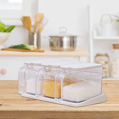 Faffooz Juego de Condimentos de Plástico, Caja de Condimento Transparente, Tarros de Especias de Cocina, Botella de Condimento con Tapa y 3 Cucharadas para Guardar, Sal, Pimienta, Especias - 3