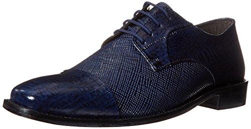 Stacy Adams Men's Gatto Leather Sole Cap Toe Oxford, Dark Blue, 12 M US