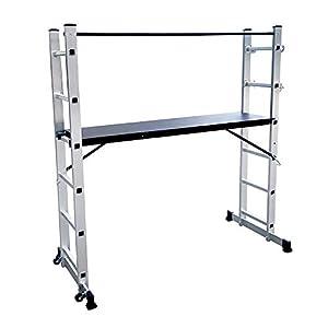 LZQ Escalera Andamio de Aluminio Multipropósito 3 en 1 – Escalera Plegable Aluminio – Plataforma de trabajo de hasta 150 kg antideslizante probado GS (EN 131)