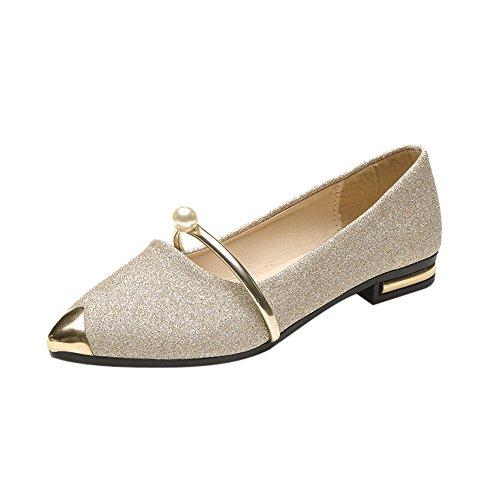 Damen Spitze Geschlossene Ballerinas/Dorical Women Perle Decor Metall Pointed Toe Ladise Shoes Casual Low Heel Flache Schuhe Neue Elegante Stylische Freizeitschuhe 35-39 EU(Gold,39 EU)