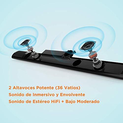 Meidong Barre de Son pour TV Bluetooth 4.2 Sans Fil 2 Haut-parleurs Télécommande Stéréo Surround à Basses Profondes de 36 Watts pour HDMI/RCA/Opt/AUX/Coax