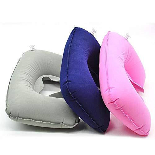 Almohada de espuma viscoelástica de rebote lento en forma de U, almohadas de viaje para el cuello, reposacabezas para el cuidado de la salud, para viajes de oficina en coche, azul zafiro