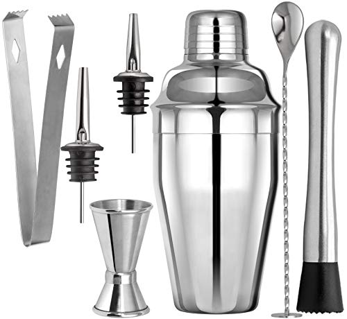 Ibex Shaker Cocktail Set in Acciao Inox SUS304-7 Pezzi Kit Barman con Beccucci, Misurino, Cucchiaio, Pestello, Mixer, Pinze per Ghiaccio e Ricetta