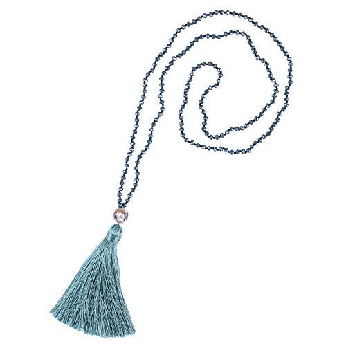 KELITCH Damen Halsketten für Frauen Männer Exquisite Kristall Shell Perlen Charme Quaste Handmade Lange Personalisierte Halsketten Glänzende Kleidung Pullover Kette - Cyan