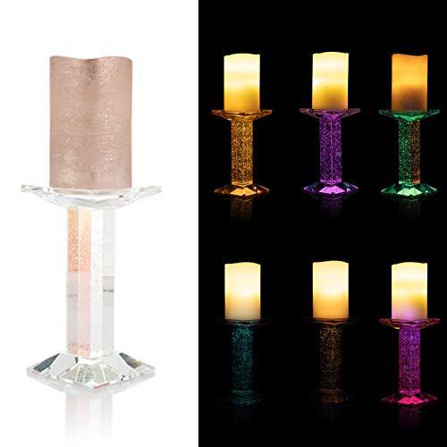 DbKW LED Kerze mit zauberhaftem Glas- Kerzenständer, Bubble Effekt durch doppelte LED Beleuchtung, Timer, Warmweißes Licht oder Farbwechsel (Multicolor/Rosegold)