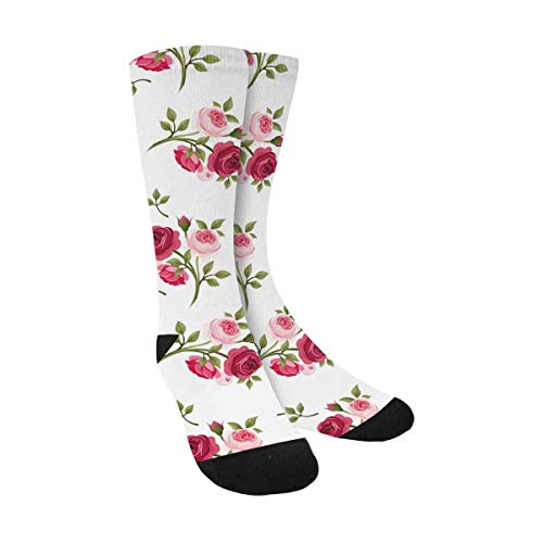 Red and Pink Roses Funny Novelty Printed Crew Socks for Mens Womens