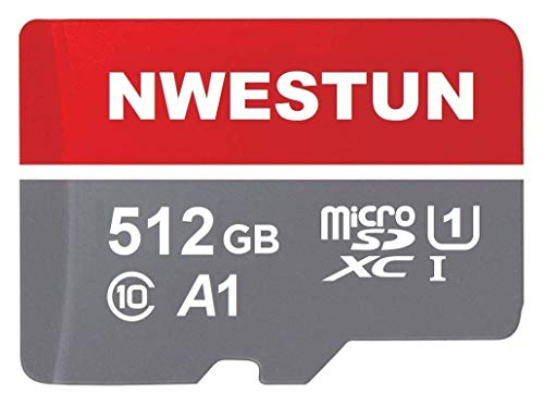 512GB Micro SD Card Memory Card with Adapter - 100MB/s, C10, U1, Full HD Available, A1, Micro SDXC UHS-I Memory Card 512GB