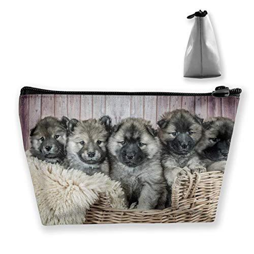 Vintage Sad Bulldog Makeup Bag Große trapezförmige Aufbewahrung Reisetasche Waschen Kosmetikbeutel Stifthalter Reißverschluss Wasserdicht