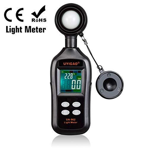Medidor digital de iluminación, medidor de luz UYIGAO, unidad Lux/FC con retención de datos y retroiluminación, medidor Lux con pantalla LCD a color de 0 a 200,000 lux y 4 bits