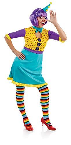 Fun Shack Blaues Lustiges Clown Kostüm für Damen, Buntes Faschingskostüm - L