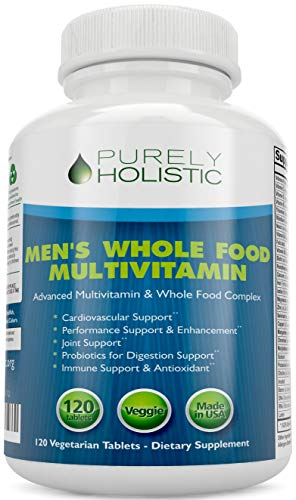 Multivitamin for Men ★ Daily Supplement 120 Tablets ★ Whole Food Multivitamin, Men's Multivitamin Organic, Vitamins, Minerals, Probiotics, Zinc, Selenium, Spirulina, Calcium, Turmeric, Magnesium