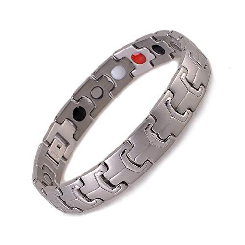 JHKJ Pulsera magnética de acero inoxidable para hombre, para alivio del dolor de artritis, pulsera de imanes fuertes, ajustable, con herramienta gratuita, color plateado