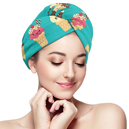 Cute Ice Cream Cartoon Doodle Microfiber Hair Towel Wraps with Button for Women Quick Dry Anti-frizz Head Turban for Long Thick Curly Hair Super Absorbent Soft Bath Cap 28 inch X 11 inch