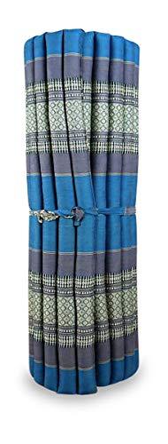 livasia Kapok Liegematte der Marke Asia Wohnstudio, 200cm x 110cm x 4,5cm; Rollmatte BZW. Yogamatte, Thaimatte, Thaikissen als asiatische Rollmatratze (hellblau)