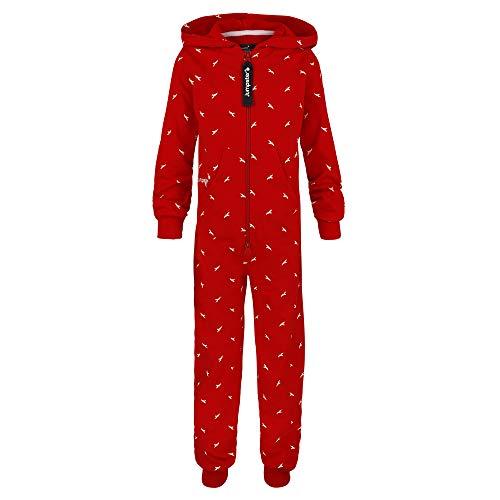 Jumpster Kinder Jumpsuit | Mädchen & Jungen | Hergestellt in der EU | 100% Bio-Baumwolle | Jumpsuit | Onesie | Pure Eco Red Birds Kids Rot S (116-122)
