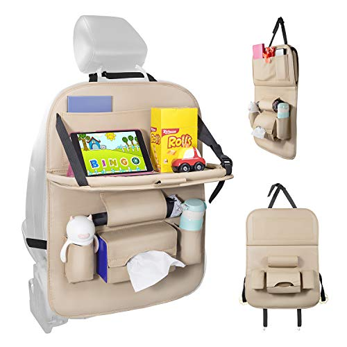 Car Seat Protector+Backseat Organizer with Tablet Holder and Foldable Tray, Durable Quality Seat...