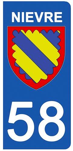 DECO-IDEES 2 Stickers pour Plaque d'immatriculation - 58 - Blason NIEVRE- Stickers Garanti 5 Ans