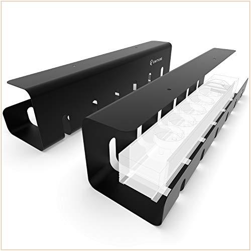 UNITURE® - [2er Set] Kabelkanal Schreibtisch für ordentliches Kabelmanagement - Kabelhalter Schreibtisch mit einfacher Montage und zeitlosem Design - 2x 43cm - Kabelführung für Home-Office (schwarz)