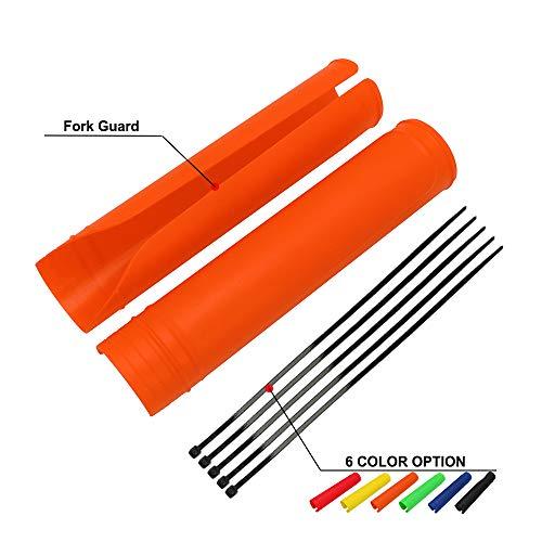 JFG RACING Protector de horquilla delantera para motocicleta de motocicleta, protector de choques, polainas para moto de cross, enduro y supermoto, color naranja